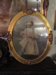 Large Oval 24 Inch Antique Gilt Frame Child S Toddler S Portrait Colorized