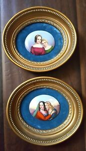 Pair Of Antique Miniature Portrait Painting On Porcelain Plaques Wooden Frames