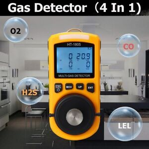4 in 1 Multi gas Detector Tester O2 Lel H2s Co Analyzer Harm Gas Density New Hl
