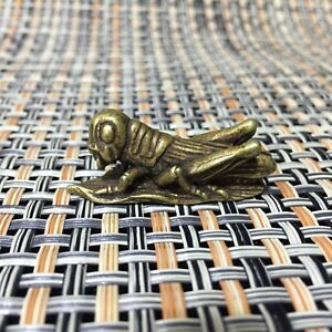 Rare Chinese Old Brass Handwork Grasshopper Eat Grass Antique Little Statue