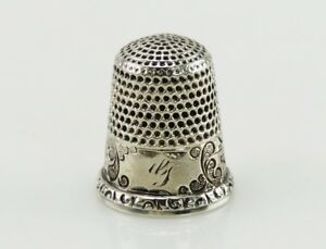 Antique American Sterling Silver Engraved Seaside Harbor Scene Thimble Size 8