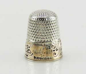 Antique Gilded Sterling Silver Decorative Thimble Mother Monogram Simons Bros