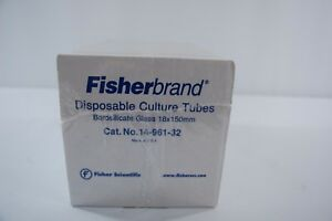 Fisherbrand Disposable Culture Tubes Borosilicate Glass 18x150mm 14 961 32 250pk