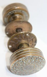 Russell Erwin Antique Brass Bronze Door Knob Set 2 Victorian Eastlake Sunburst