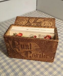 Vintage Old Pyrography Burnt Wood Dresser Box Post Cards With 50 Postcards Roses