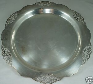 Antique Round Silver Plate Tray Platter Cut Out Rims Mono Scalloped Edges