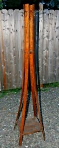 Antique Hand Made Arts Crafts Mission Hall Tree Coat Rack Stand Bent Wood Oak