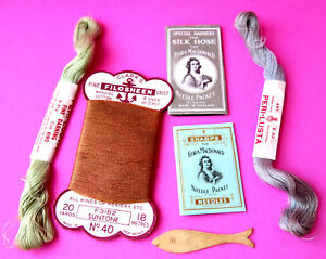 Vintage Antique Sewing Needle Packs Flora Mcdonald Silks Fish Thread Winder