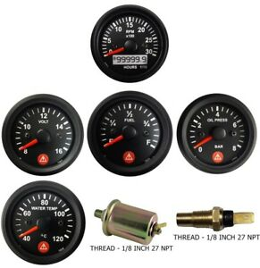 Tachohour Meter Oil Pressure Temperature Volt Fuel Temp