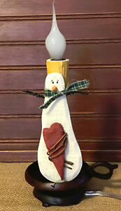 Rustic Primitive Wooden Snowman Accent Lamp With Heart