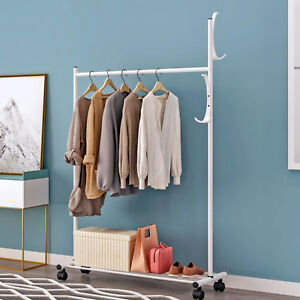 White Rolling Clothing Garment Rack Shelving Wire Shelf Dress Shelf Store