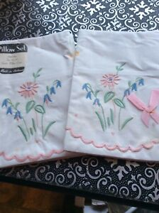 New Unused Antique Pair Embroidered Mixed Linen Pillow Cases Made N Ireland