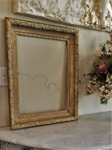 Beautiful Antique Victorian Wooden Large Picture Wall Frame Gesso Foliate 22x26