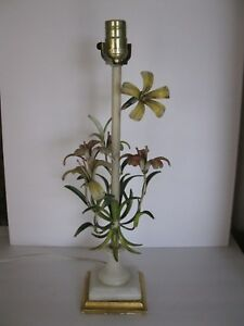 Vintage Italian Table Lamp Metal Toleware Flowers Italian Regency Shabby Chic
