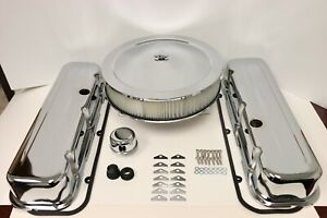 Bb Chevy Chrome Engine Dress Up Kit Tall Valve Covers Air Cleaner 65 90 Bbc 454