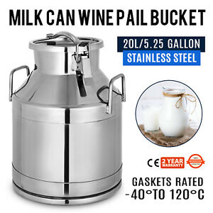 20l 5 25 Gallon Stainless Steel Milk Can Jug Pot W handle Liquid Container