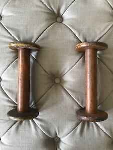 Antique Wood Candle Holders Early1900 S Wooden Thread Spools 9 Tall Set Of 2
