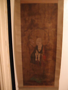 Early Antique Japanese Hanging Scroll Silk Paper Left