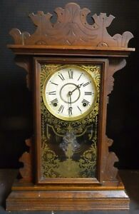 Antique Welch Walnut Wooden Gingerbread Chime Clock W Stenciled Glass Door Vg