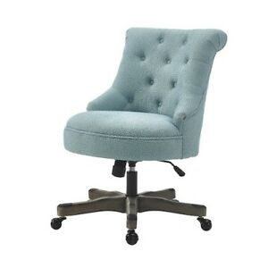 Executive Office Chair Blue Upholstered Armless Wood Base Wheels Desk Furniture