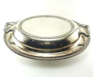 Fiesta Oneida Covered Oval Serving Dish Silver Plate 2 Piece