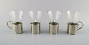 4 Pcs Of Just Andersen Art Deco Pewter Mugs With Loose Glass Hunting Set