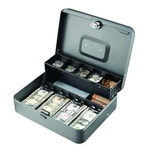 Tiered Gray Cash Box Money Bill Coins Portable Storage 2 Keys Locking Cash Tray