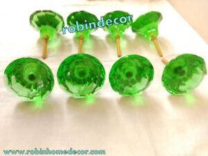Rare Vintage Door Cabinet Glass Knobs Brass Puller Antique Style Green Nob 8 Pc