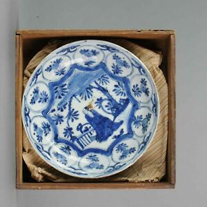 Antique Chinese 17c Porcelain Ming Transitional Kraak Literati Dish Bo