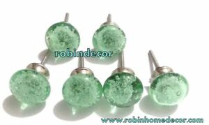 Set Of 6pcs Handcrafted Glass Sea Green Bubble Kitchen Cabinet Door Pulls Knobs