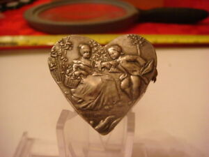 Antique Hallmarked Sterling Silver Heart Shaped Pill Box