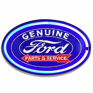 Ford Led Neon Lighted Sign 16 Oval W Lights Decor For Bar Garage Man Cave