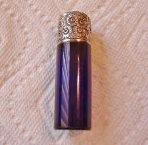 Antique Cobalt Blue Glass Perfume Scent Bottle C1880 Beautiful