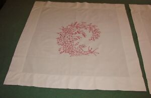 2 Antique Linen Turkey Red Embroiderred Overlay Pillow Shams Matching