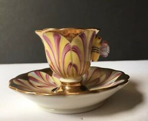 Vintage Miniature Tea Cup Saucer W Butterfly Handle Hand Painted Italy