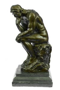 Large Rodin Famous The Thinker Bronze Marble Sculpture Art Deco Marble Figurine