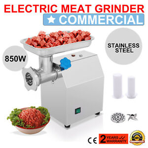 Stainless Commercial Meat Grinder 850w Mincer 270lbs h W 2 Blades Plates