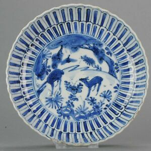 Antique Chinese 17th Century Kraak Deer Plate Transitional Ming Tianqi
