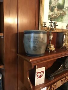 Never Seen Rare Decorated Cobalt J G Brown Webster Pa Stoneware 2 Gal Crock