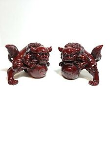 Chinese Red Carved Foo Dog Guardian Lion Statue Pair Feng Shui