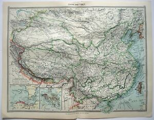 Original Map Of China Tibet C1907 By George Philip Sons Antique