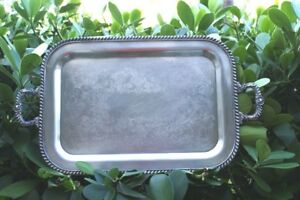 Vintage Silver Plate Platter Serving Tray Handle Heavy Fb Rogers Silver N R
