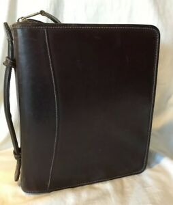 Franklin Covey Full Grain Leather Classic Planner 2 Rings With Handle