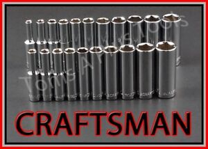 Craftsman Tools 21pc 1 4 Dr Deep 6pt Sae Metric Mm Ratchet Wrench Socket Set