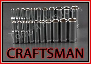 Craftsman Tools 21pc 1 4 Dr Deep 6pt Sae Metric Ratchet Wrench Socket Set