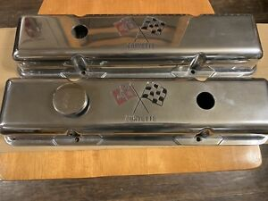 Chevy Polished Aluminum Valve Covers Racing Flags Small Block Chevy Corvette