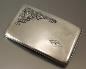 19th Century China Chinese Dragon Solid Silver Card Case