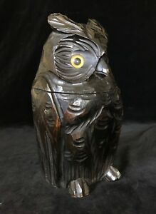 Antique Carved Figural Owl With Paperweight Eyes Tobacco Jar Humidor Mid 20thc