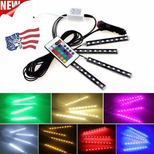 4 X 9 Led For Car Charge Interior Rgb Light Accessories Foot Car Decorative Us