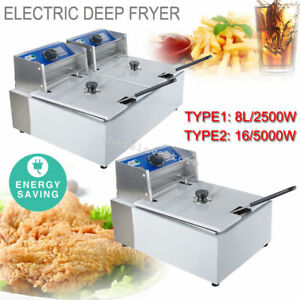 Lid Commercial Electric Deep Fryer Tabletop Restaurant Fry Basket Scoop 5 5 11l